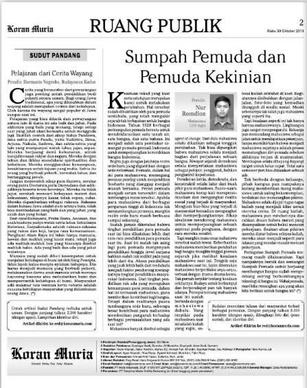 Ini Potongan koran Suara Muria yang memuat tulisanku.