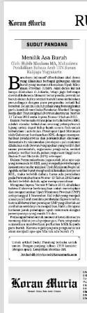 Ini tulisannya yang dimuat di Koran Muria pada Jumat (8/11)